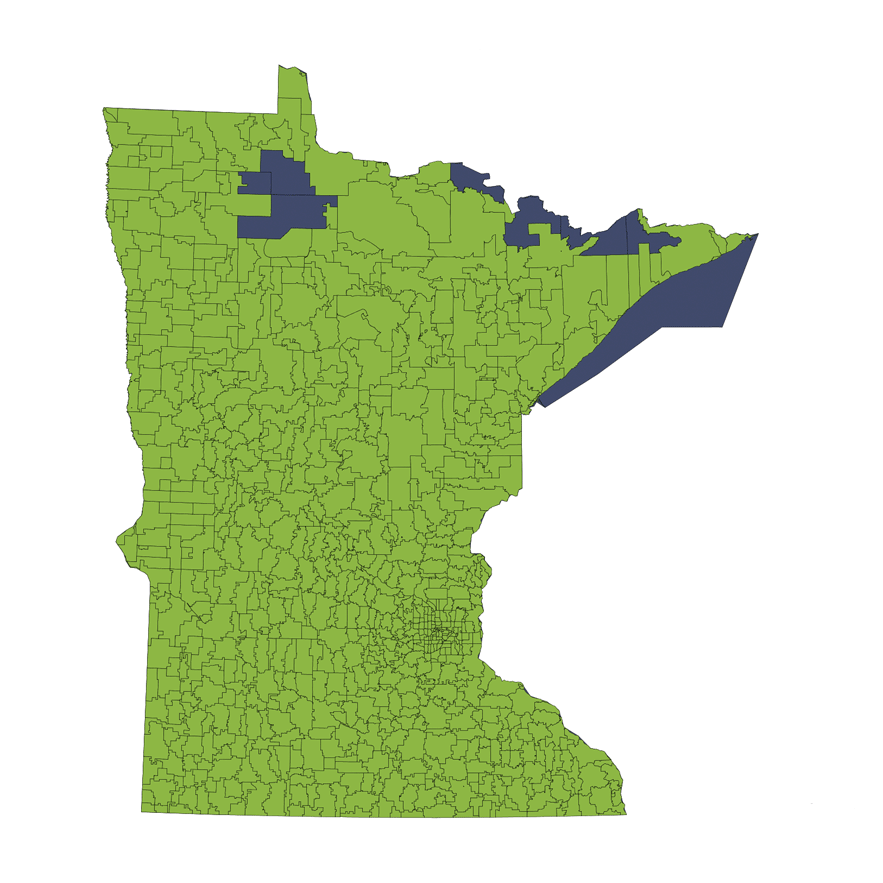 Location Services Repo/Vehicle Recovery Coverage Area by Zip Code: Minnesota