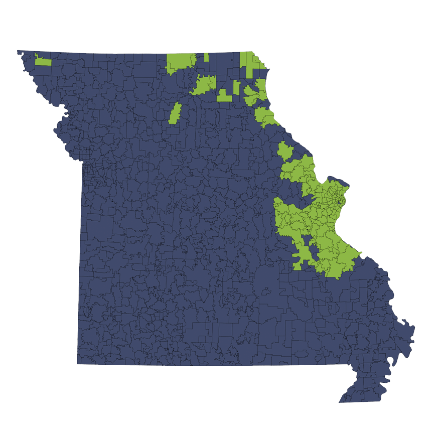 Location Services Repo/Vehicle Recovery Coverage Area by Zip Code: Missouri